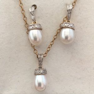 14K Gold Genuine Pearl Pendant Necklace, Earrings